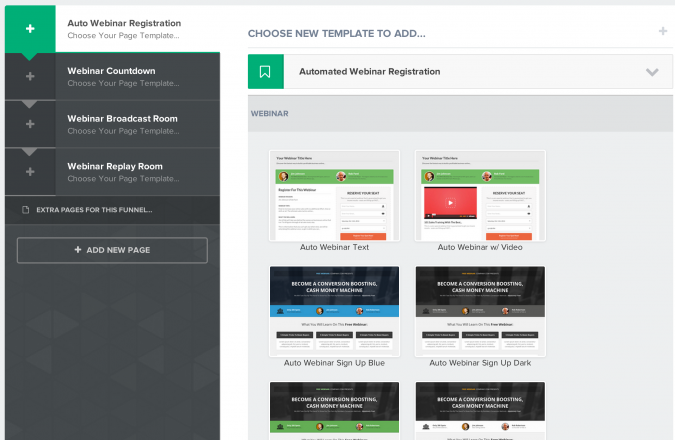 Clickfunnels Automated Webinar - select page template