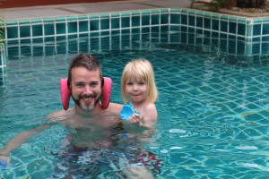 Cecilie and Rasmus in the pool